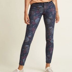 MODCLOTH FLORAL HIGH RISE SKINNY ANKLE JEANS NWOT
